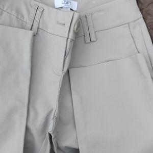 Loft 0petite cropped pants light gray Julie fit